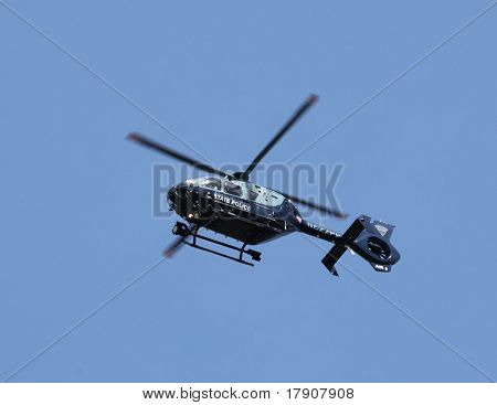 BOSTON - APRIL 18 : Massachusetts State Police Helicopter patrols from above as nearly 25000 runners