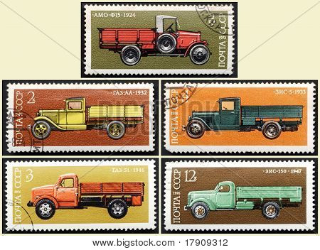 Stamps old Russian truck, set