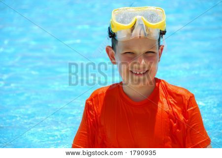 Smiling Boy In Pool