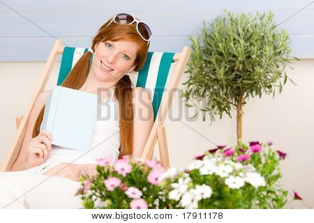 Summer Terrace Red Hair Woman Relax In Deckchair