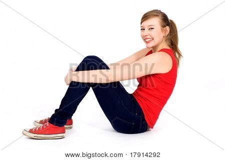 Teenage girl sitting