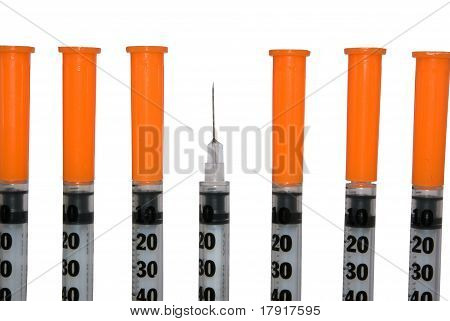 Several insulin syringe