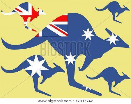 Kangaroo and australian flag illustration