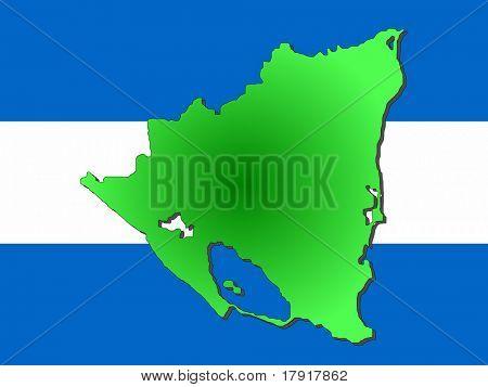 map of Nicaragua and Nicaraguan flag illustration