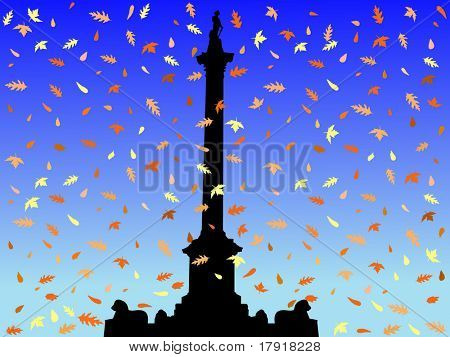 Nelson Column Trafalgar Square in autumn with falling leaves