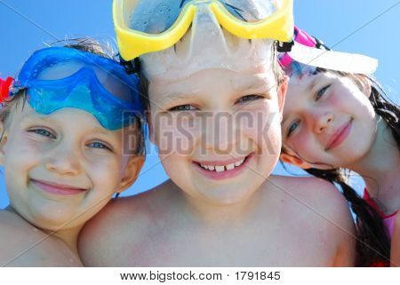 Three Children With Goggles