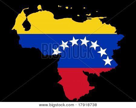 mapa da Venezuela e venezuelano ilustração de bandeira