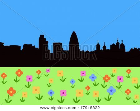 London Skyline with springtime flowers in bloom illustration