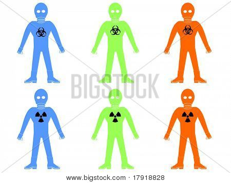 colourful hazmat or bio hazard suits illustration