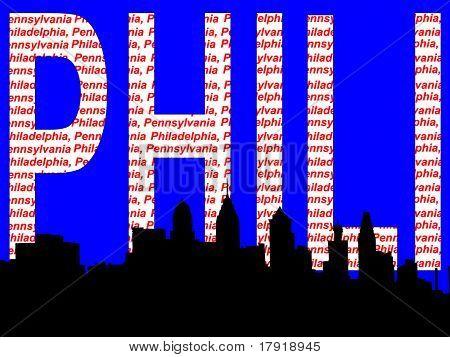 Philadelphia skyline illustration against Philadelphia Pennsylvania collage