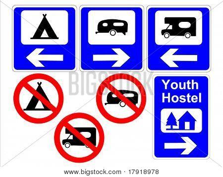 camping and caravan signs