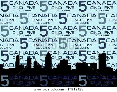 Montreal skyline against five dollar bill