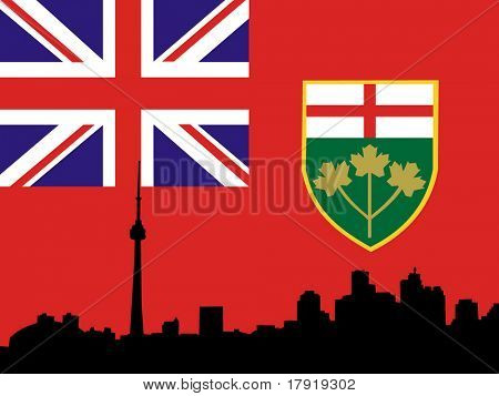 Toronto skyline and flag of Ontario illustration