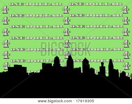 Philadelphia skyline against one dollar bill