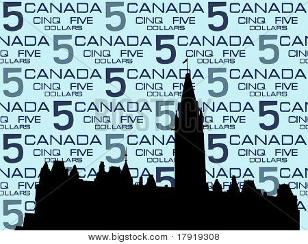 Canadian Parliament Ottawa against five dollar bill