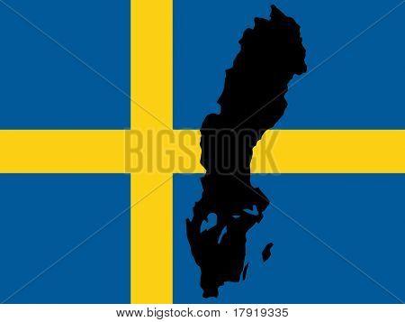 瑞典和瑞典国旗图的地图 库存矢量图和库存照片 | big