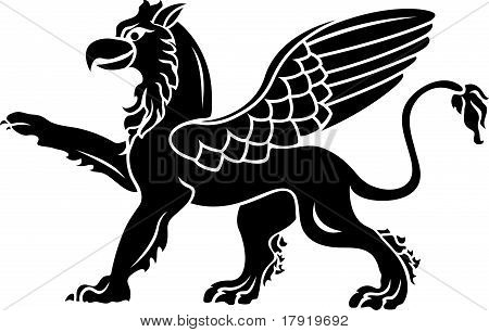 Standing griffin with lifted paw. stencil