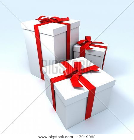 three Big white gift boxes with red ribbons on a neutral background