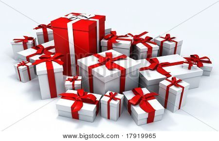 White gift box with red ribbon in the middle of a pile of white gift boxes