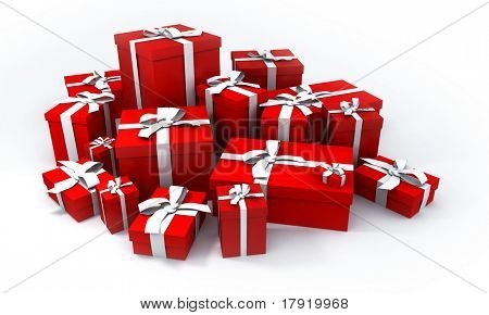 pile of red gift boxes with white ribbons