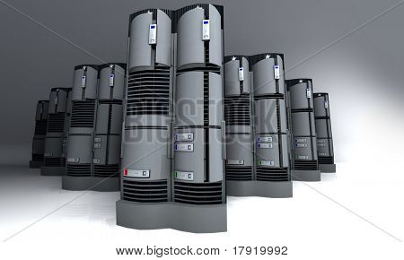 3D rendering of a group of servers