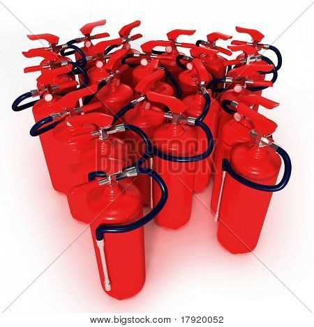 Group of red fire extinguishers on a white background