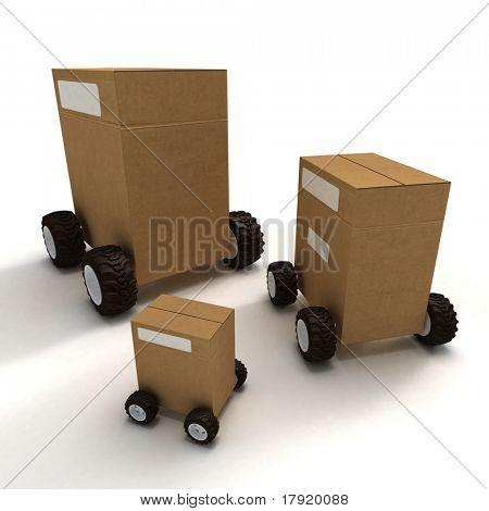 Three big cardboard boxes on wheels on a neutral background