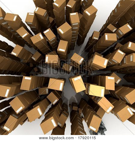 Aerial view of Huges piles of cardboard boxes