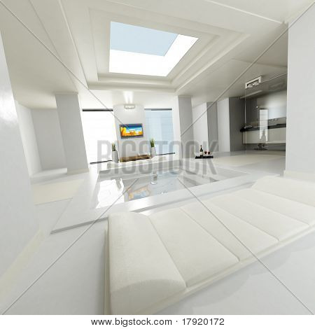 Huge luxurious bathroom with open ceiling and amazing features like a big lcd tv on the wall and with leather divans
