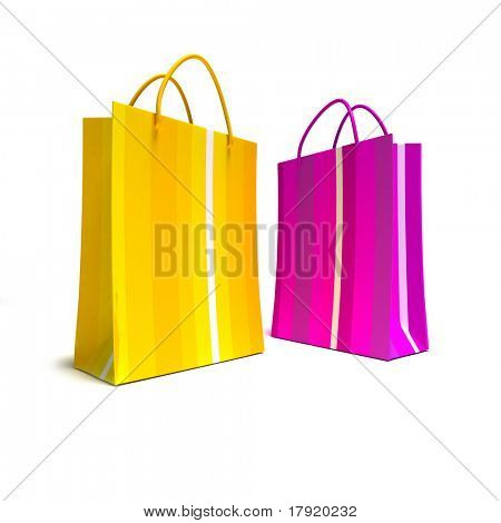 Pair of colourful striped shopping bags in pink and yellow