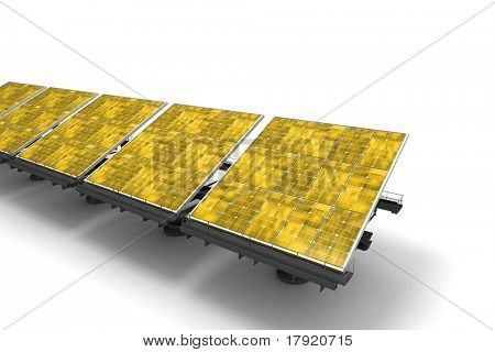 Row of yellow solar panels against a white background