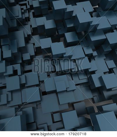 Digitally generated abstract cubic background in bluish shades