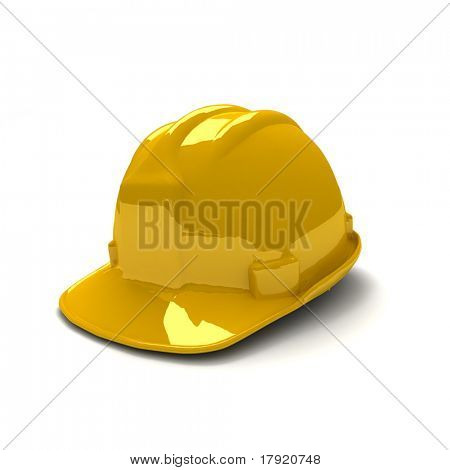 3D rendering of shinny new yellow safety helmet
