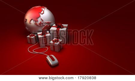 3D rendering of a world America oriented, surrounded by presents connected to a computer mouse in white and red shades