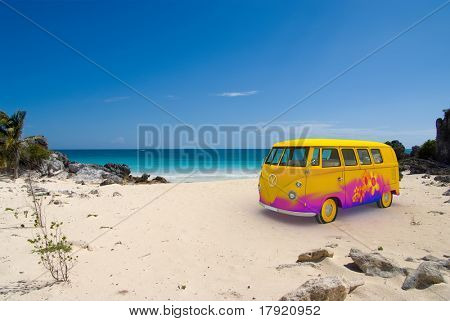 3D rendering of a hippie van on a tropical beach