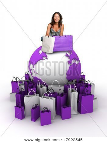 Young woman sitting at the top of the Earth surrounded with shopping bags
