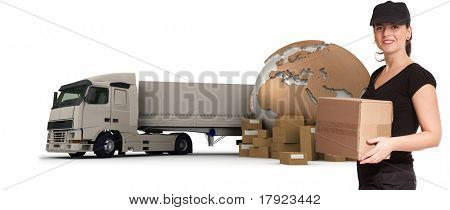 A female messenger with a world map, packages and a truck as background