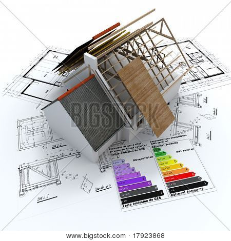 3D rendering of a house in construction, on top of blueprints, with and energy efficiency rating chart
