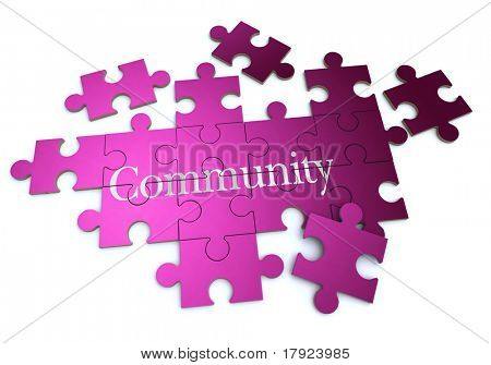 3D rendering of a forming puzzle with the word Community