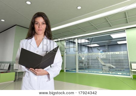 Female medical professional in a modern clinic