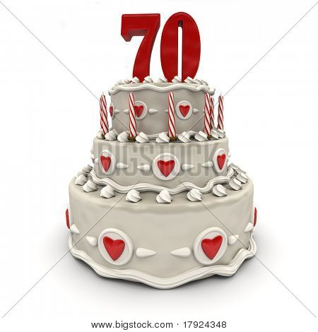 3D rendering of a multi-tiered cake with a number Seventy on top