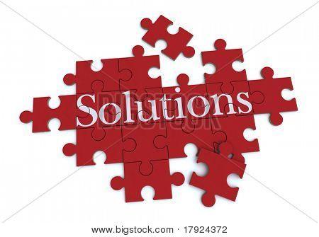 Renderização 3D de um quebra-cabeça formando com a palavra soluções