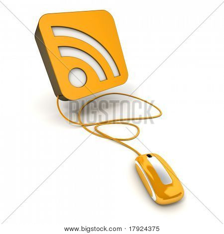 3D rendering of an orange icon with the RSS symbol connected to a computer mouse