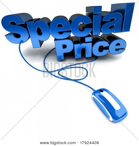 3D rendering of the words Special Price connected to a computer mouse