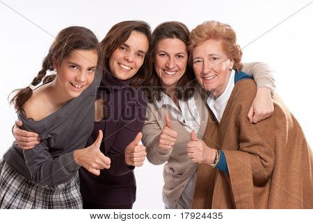 Isolated image of for women of different generations happy and with thumbs up