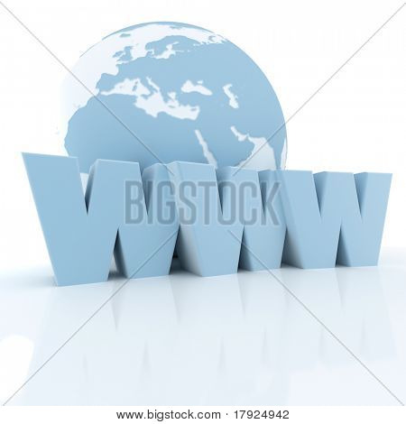 3D rendering of a world globe and the word www in blue shades