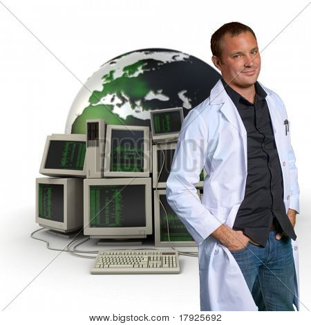 Technician in a white robe on a background of computers and the Earth