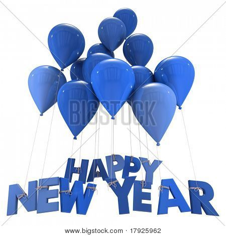 3D rendering of the words Happy New Year hanging form flying balloon strings in blue shades