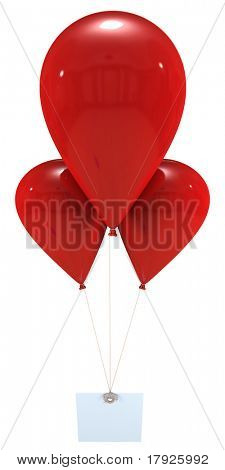3D rendering of a label hanging from three red flying balloons