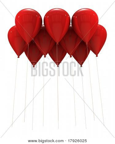 3D rendering of a group of red balloons flying with the strings hanging down. Ideal to put your own message or object